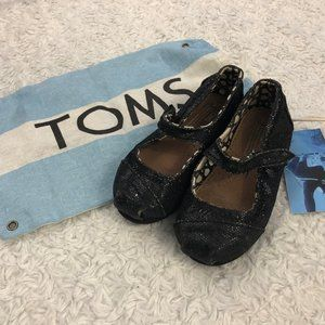 TOMS Glitter Mary Janes Black 6